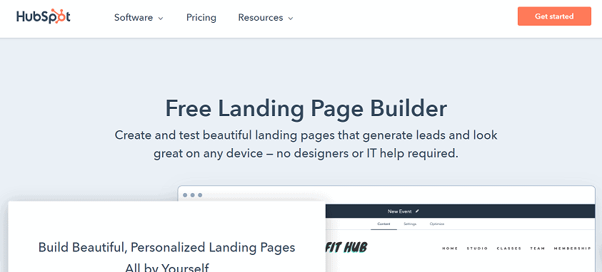 HubSpot landing page builder software