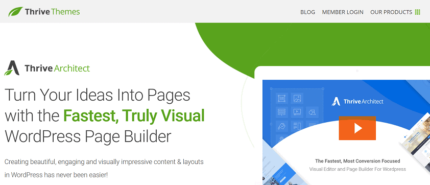 Thrive Architect landing page buidler WordPress