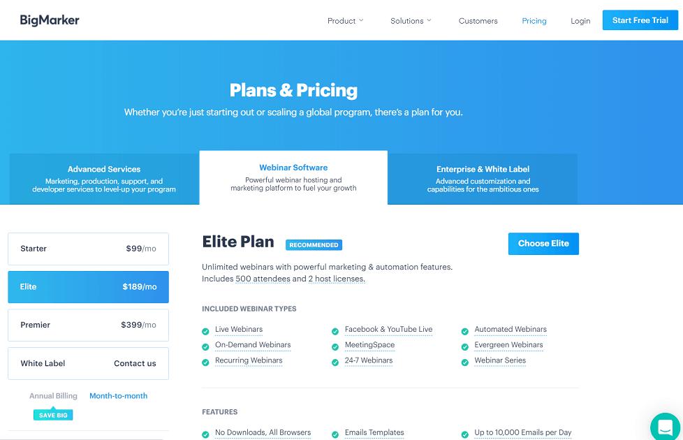 bigmarker pricing plans