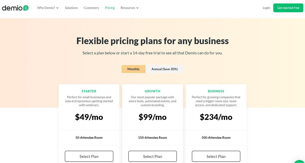 demio pricing plans