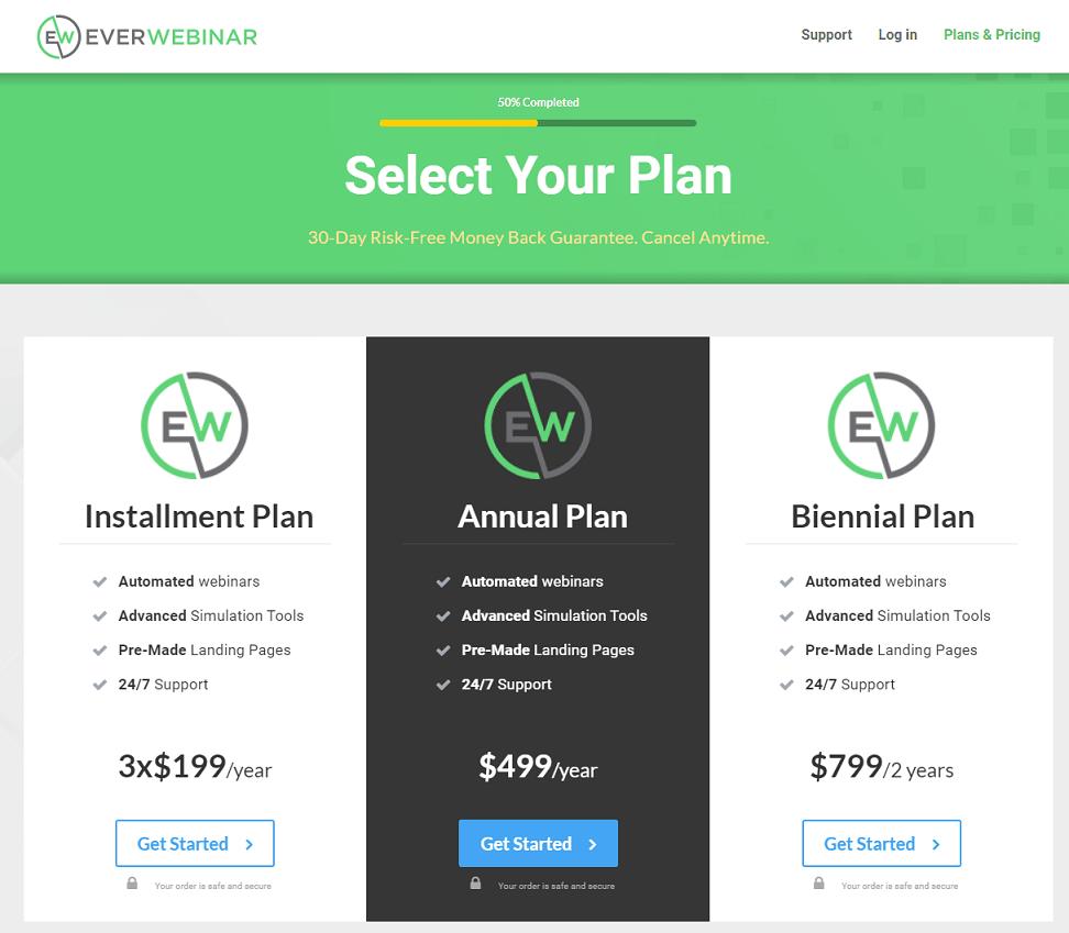 everwebinar pricing plans