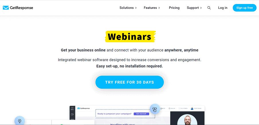 getresponse best webinar platforms for small business