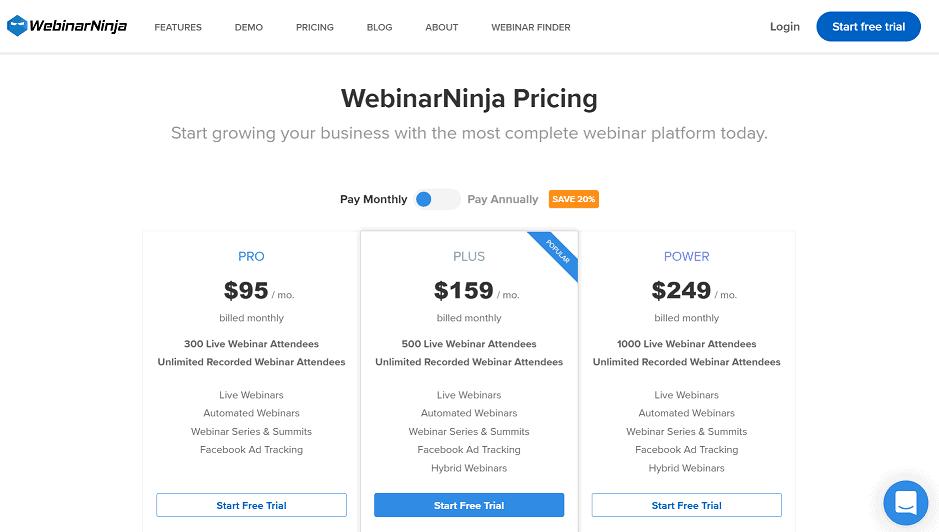 webinarninja pricing plans