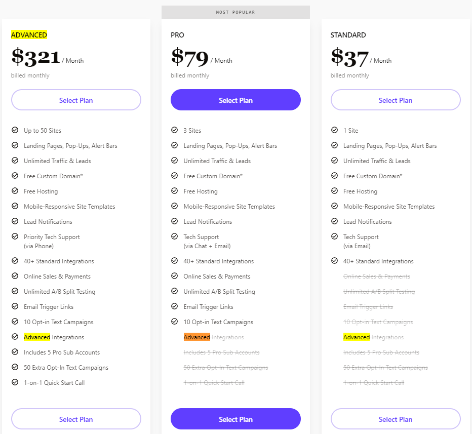 Leadpages Pricing Plans New