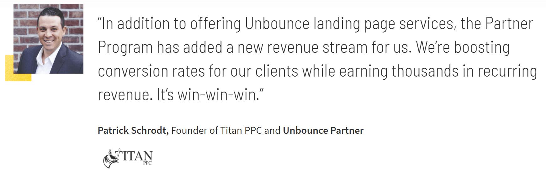 Unbounce partner testimonials