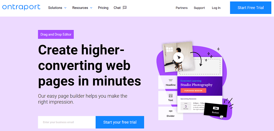 Ontraport landing page builder