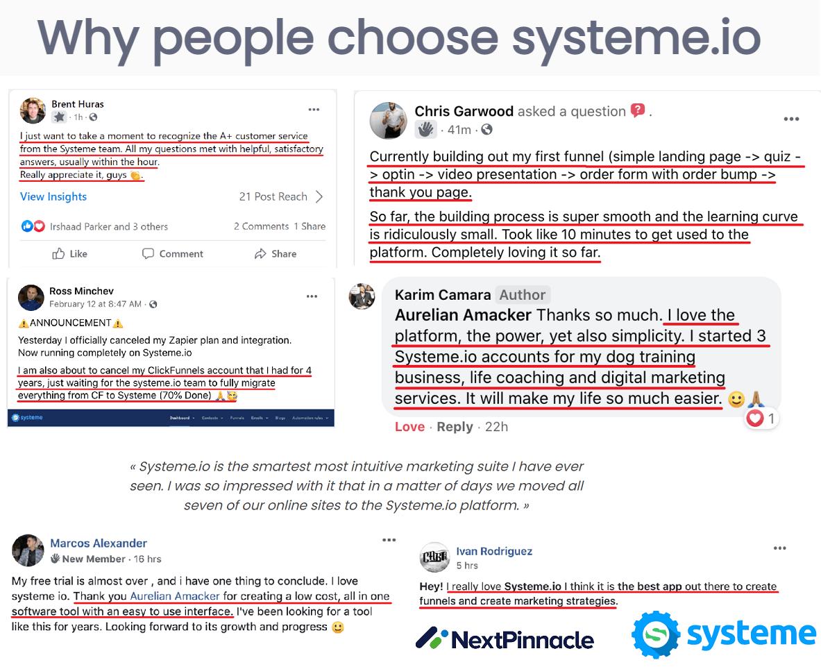 Systeme.io Testimonials