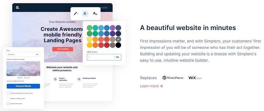 Simplero website builder