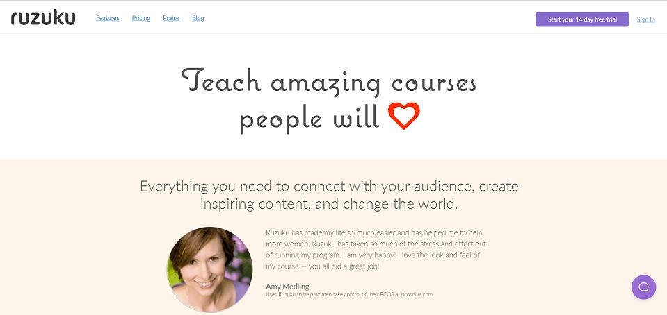 Ruzuku online course softwre platform
