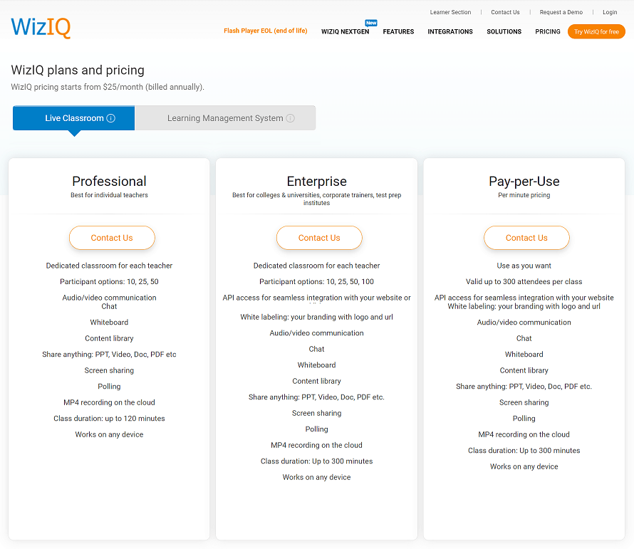 WizIQ pricing plans