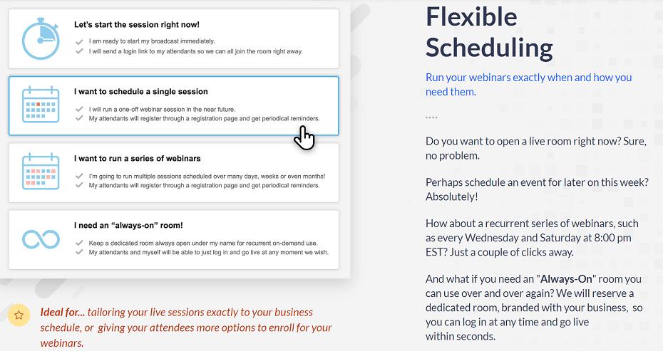 WebinarJam Flexible Scheduling