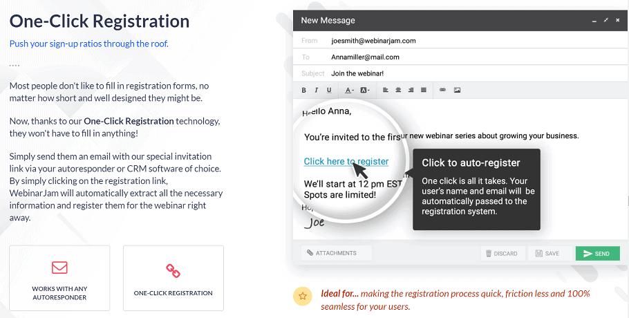 WebinarJam One-Click Registration
