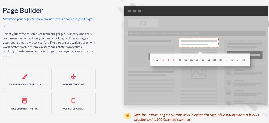 WebinarJam Page Builder