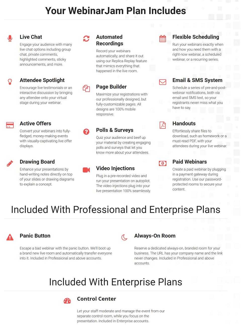 WebinarJam Plan Features