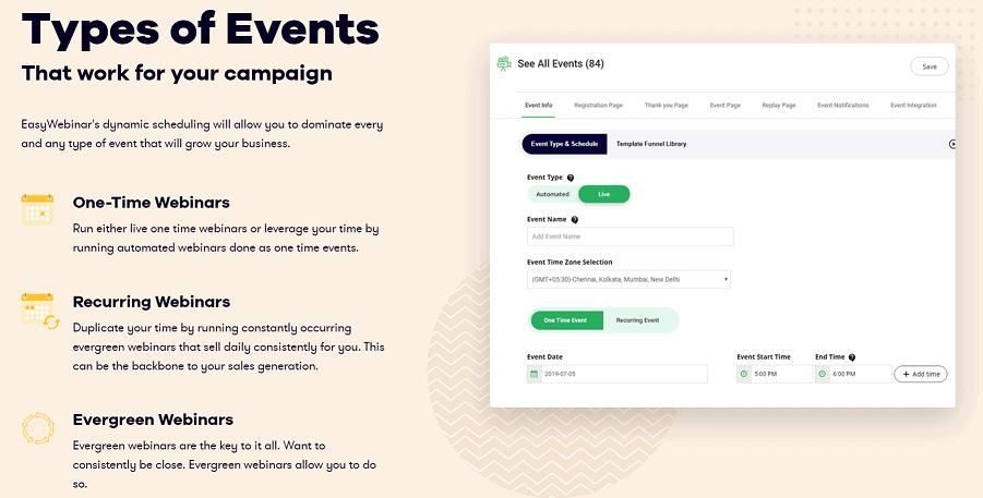 EasyWebinar Types of Webinar Events