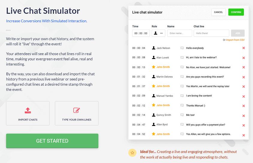 EverWebinar Live Chat Simulator