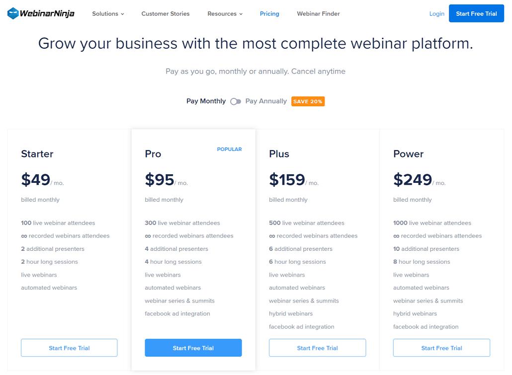WebinarNinja Pricing Plan